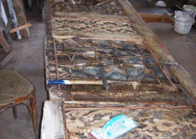 قطعة من مظلة بيت غزالة في حلب قبل الترميم part of outdor from ghazaleh house in aleppo