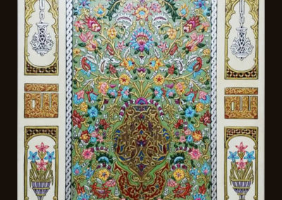 ajami handmade art painting لوحة عجمي مزهرية مروة